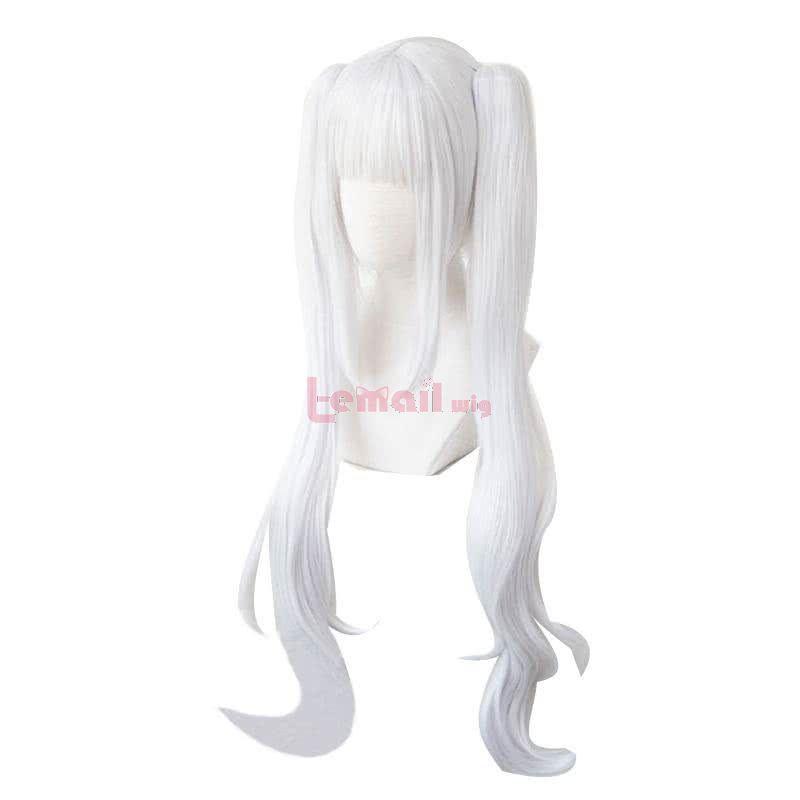 Virtual Youtuber Kagura Mea Long Curly White Ponytail Cosplay Wigs