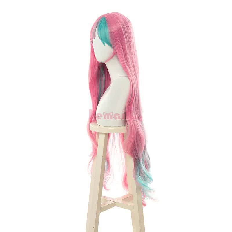 Virtual Youtuber Pinky Pop Hepburn Long Curly Mixed Pink Cosplay Wigs