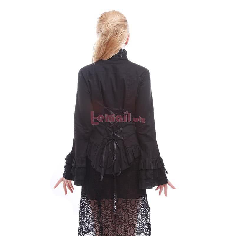 White Black Long Lace Puff Sleeve High-neck Shirt Vintage Chiffon Ruffled Lolita Dress
