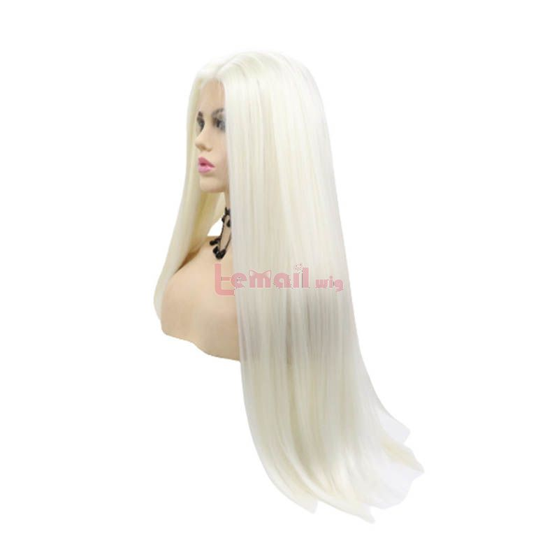 Fashion Long Straight Hair White Lace Front Wigs Cosplay Wigs