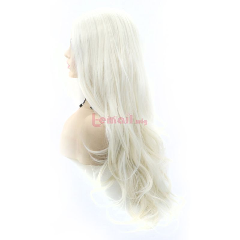 Fashion Long Curly Hair White Lace Front Wigs Cosplay Wigs