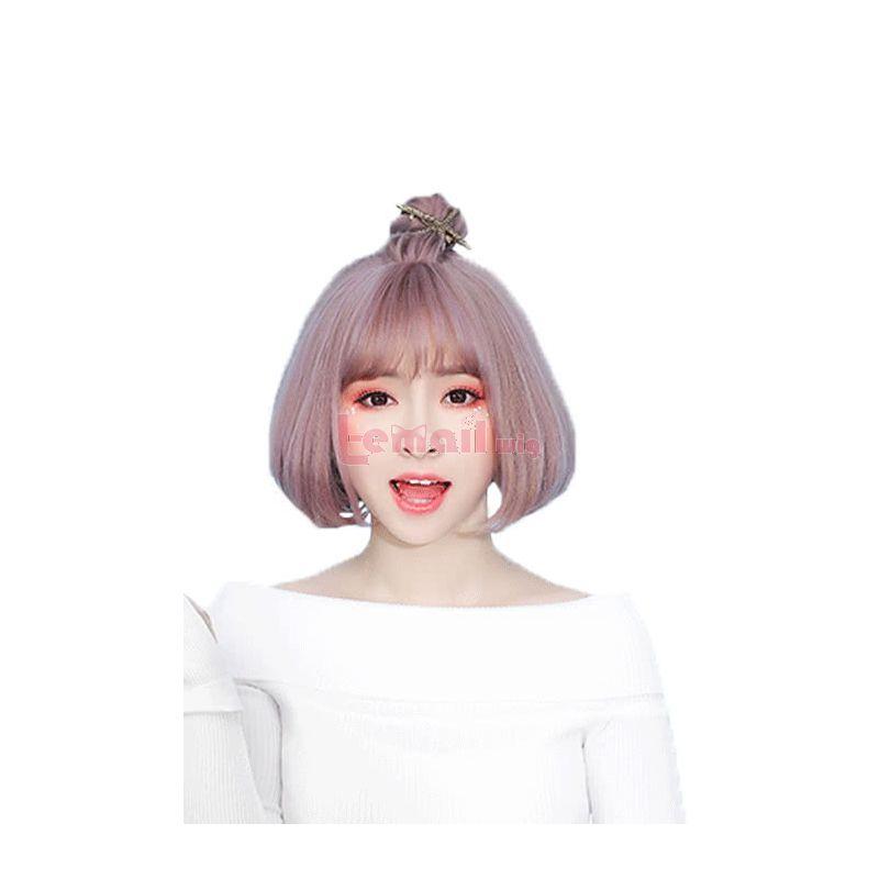 Women Fashion Hair Multi Color Bob Bobo Style Synthetic Fashion Wigs with Thin Air Bangs