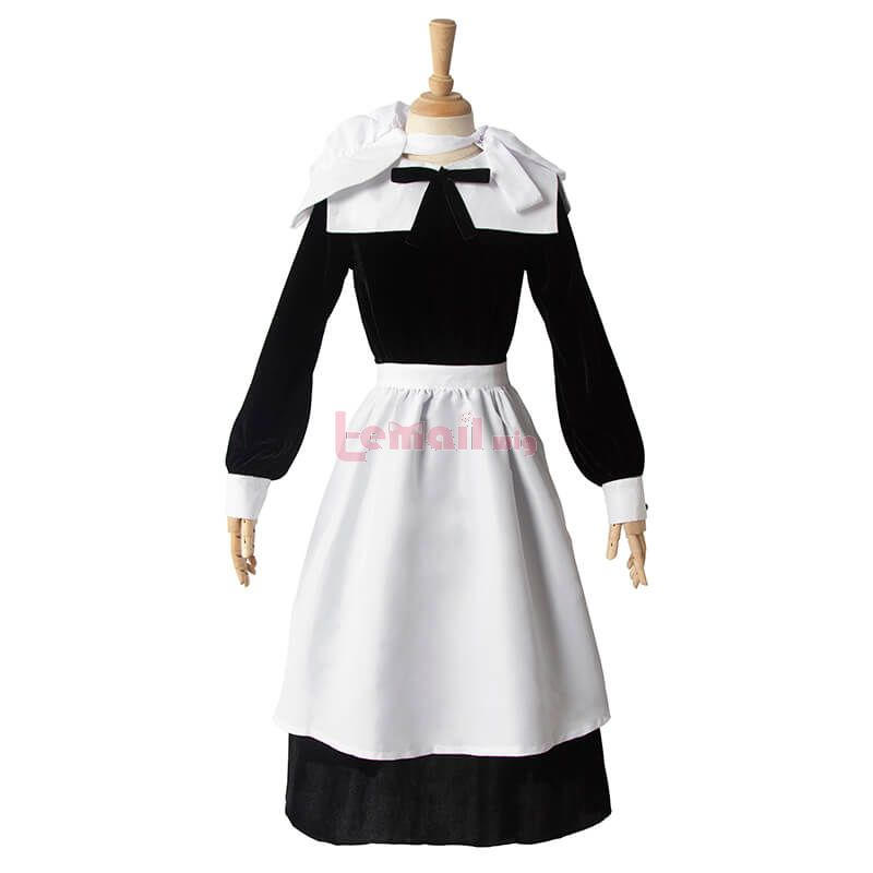 Women Classical Halloween Costume Retro Party Dress WIth Apron