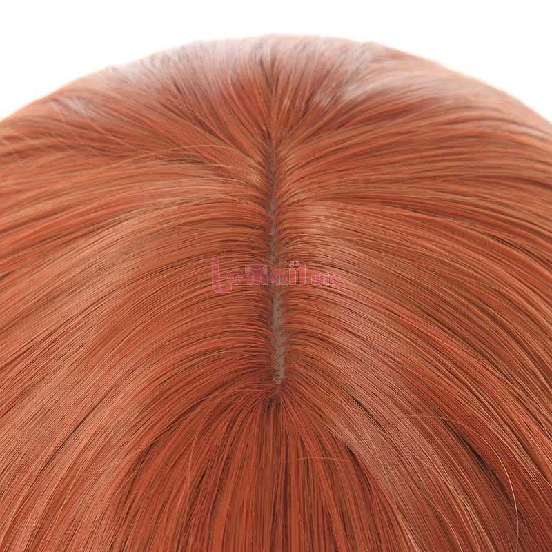 Women Curly Hair Wig Long Orange Lolita Fashion Wigs with Bangs