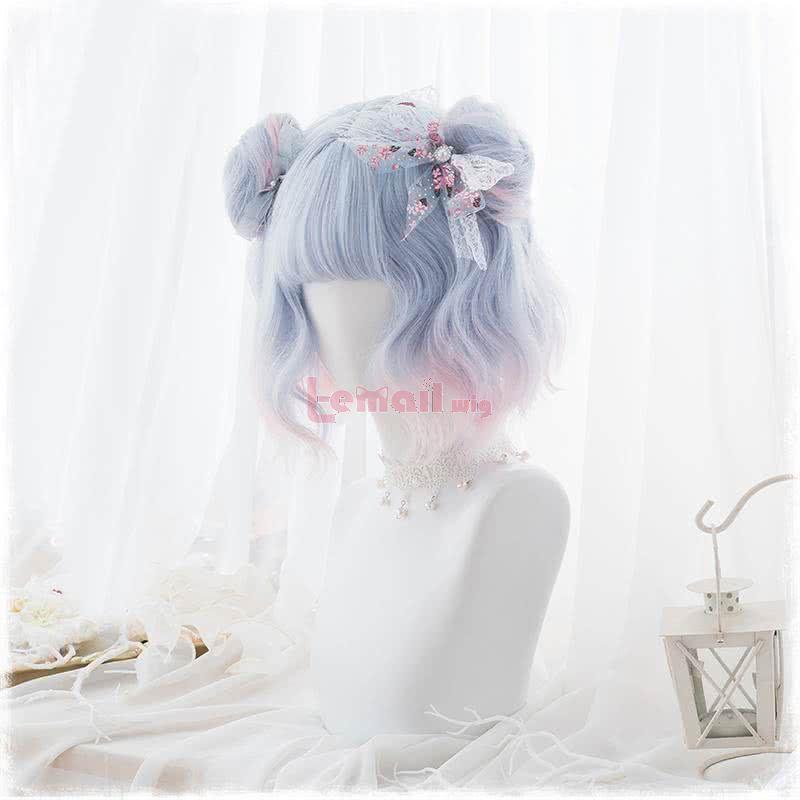 Fashion Women Hair Wig Short Light Blue Gradient Pink Lolita Curly Wigs