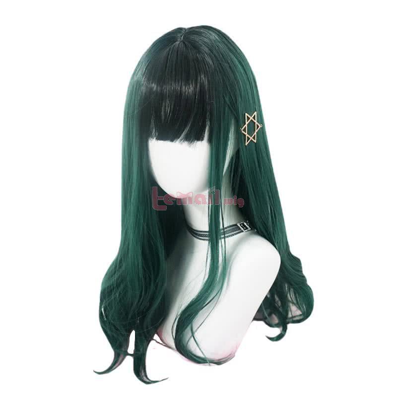 Women Long Green Lolita Wig Fashion Curly Halloween Hair Wigs