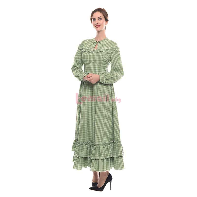 Women Long Sleeves Various Color Plaid Long Skirt