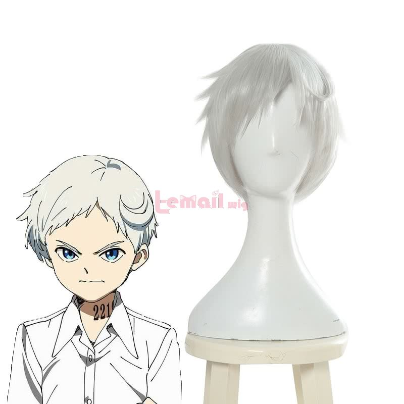 Anime Yakusoku no Neverland Norman Short Gray Men Cosplay Wigs
