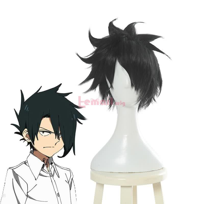 Anime Yakusoku no Neverland Ray Short Black Cosplay Wigs