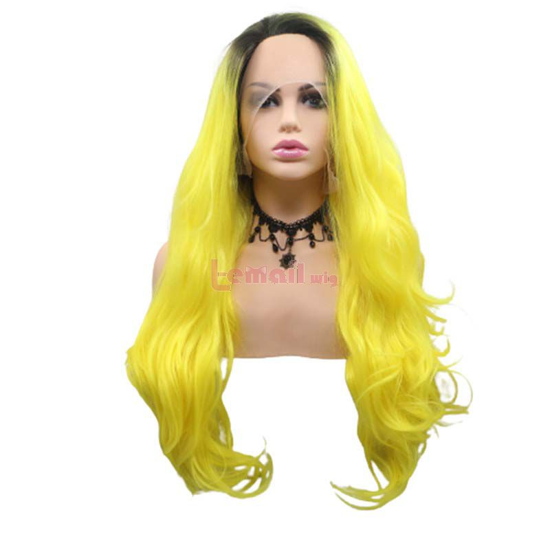 Fashion Long Curly Hair Gradient Yellow Lace Front Cosplay Wigs
