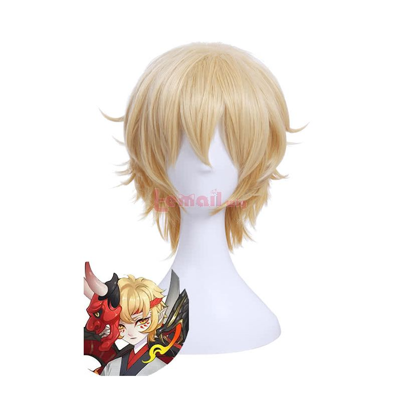 Game YinYang Master Ban Ruo Blonde Man's Wig Short Curly Styled Cosplay Wigs