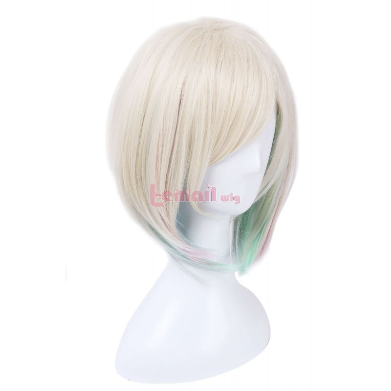 League of Legends Elementalist Lux Skin Light Form Short Green Mixed Rainbow Color Cosplay Wigs