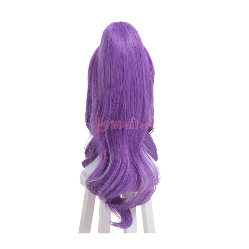 League of Legends Janna Magical Girl Skin Purple Hair With Long Curly Ponytail Cosplay Wigs