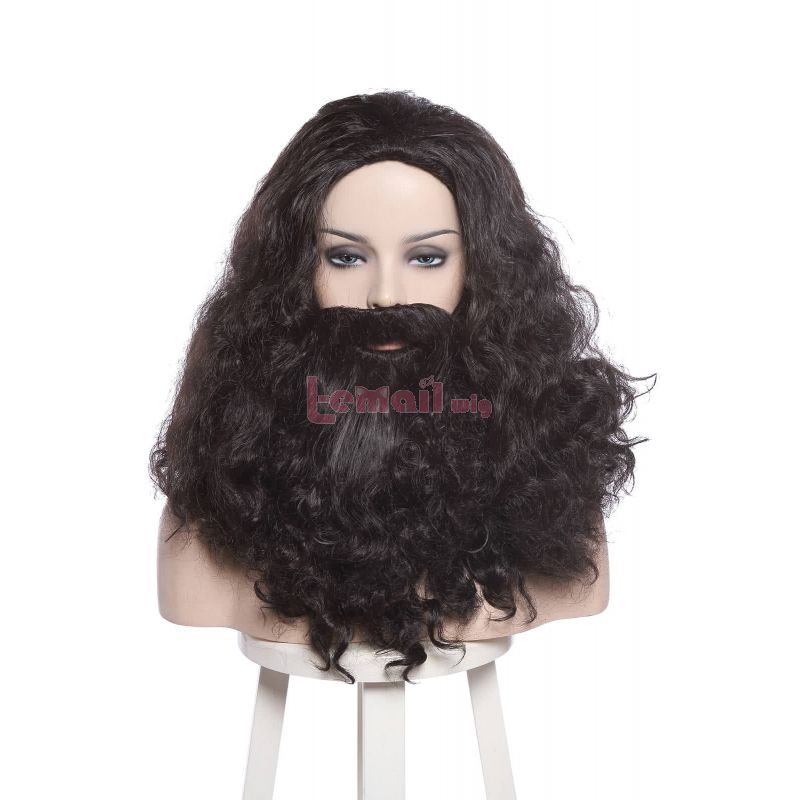 Movie Harry Potter Rubeus Hagrid Black Curly Cosplay Wig