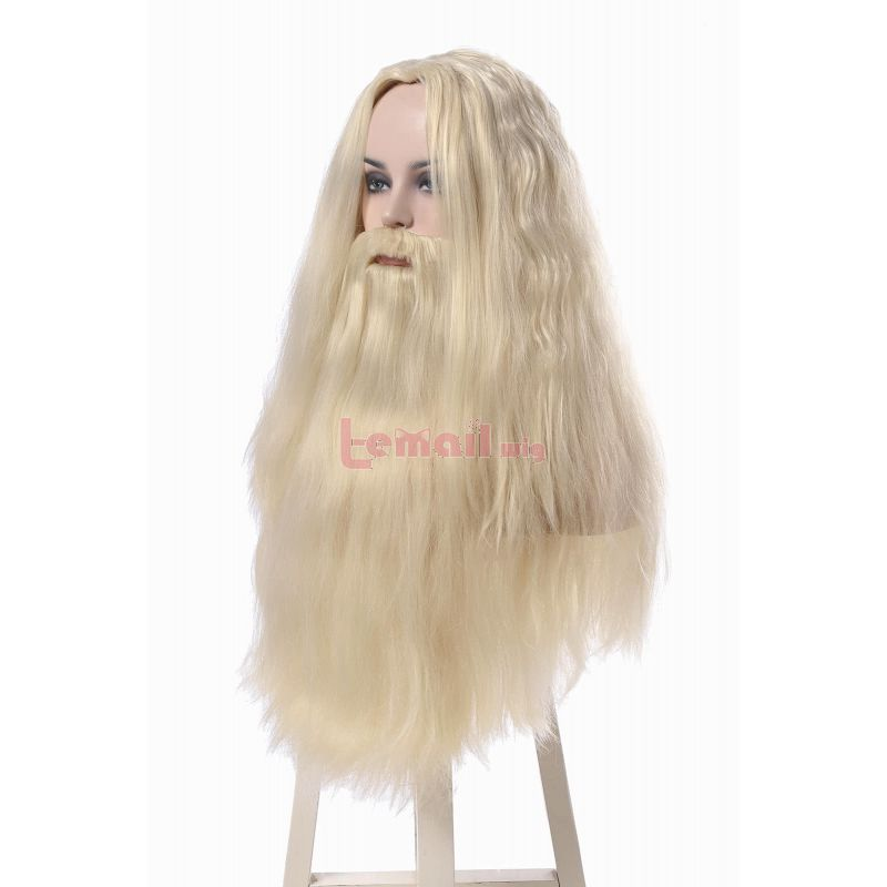 Albus Dumbledore White Curly Coaplay Wig