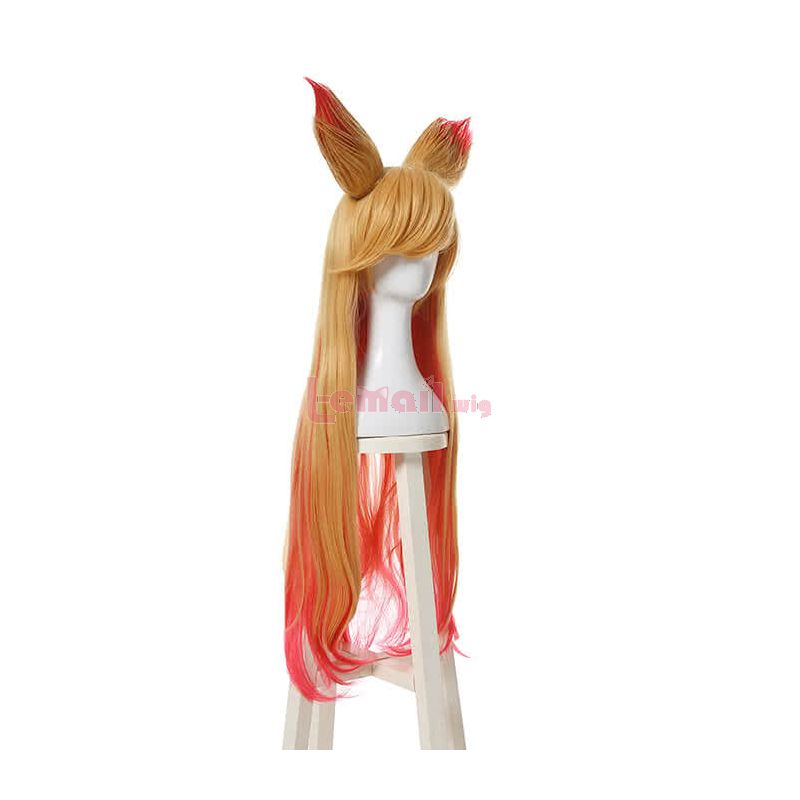 Game League of Legends Star Guardians Ahri Cosplay Wigs Synthetic Long Blonde Mixed Pink Curly Women Hair Wigs