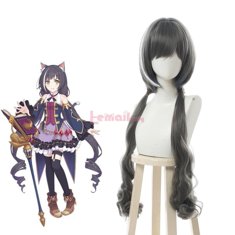 Princess Connect! Re:Dive Kyaru Long Grey Curly Cosplay Wigs With Ears